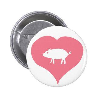 I Pin de los cerdos del corazón Pin Redondo 5 Cm