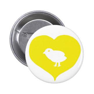 I Pin de los pájaros del corazón Pin Redondo 5 Cm