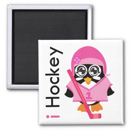 i pingüino del hockey imán para frigorífico