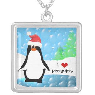 I pingüinos del corazón colgante cuadrado