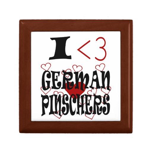 I Pinschers del alemán del corazón Joyero Cuadrado Pequeño
