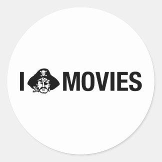 i pirate movies classic round sticker