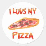 I pizza de Luvs Pegatinas Redondas