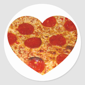 I pizza del corazón pegatina redonda