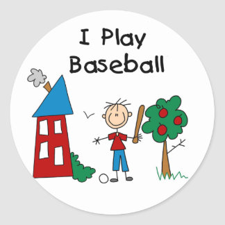 I Play Baseball Classic Round Sticker