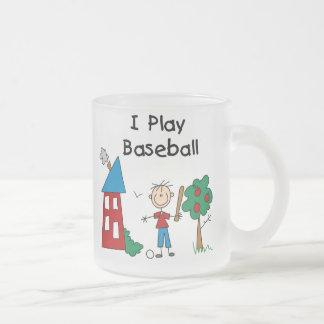 I Play Baseball Frosted Glass Coffee Mug