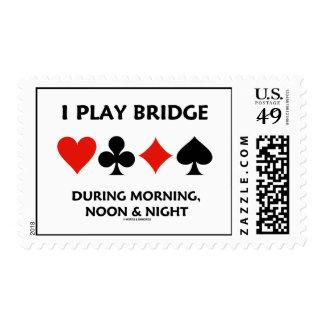 I Play Bridge During Morning, Noon & Night Postage Stamp