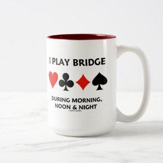 I Play Bridge During Morning, Noon & Night Two-Tone Coffee Mug