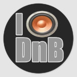 I PLAY DnB Drum and Bass music shirts and gear Round Stickers