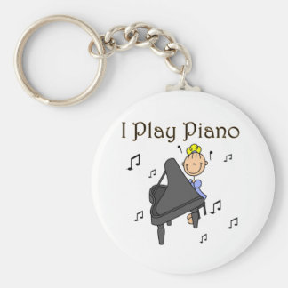 I Play Piano T-shirts and Gifts Basic Round Button Keychain