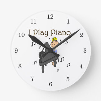 I Play Piano T-shirts and Gifts Round Clock