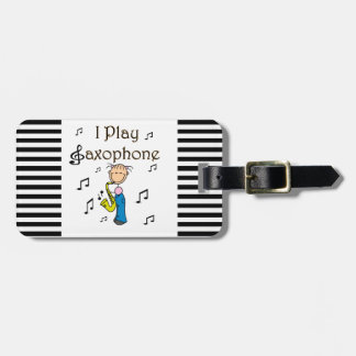 I Play Saxophone Stick Figure T-shirts and Gifts Bag Tag