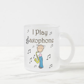 I Play Saxophone Stick Figure T-shirts and Gifts Frosted Glass Coffee Mug