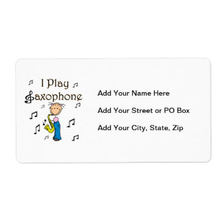 I Play Saxophone Stick Figure T-shirts and Gifts Label