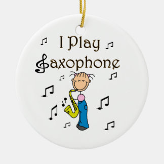 I Play Saxophone Stick Figure T-shirts and Gifts Double-Sided Ceramic Round Christmas Ornament