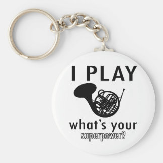 I play the French Horn Basic Round Button Keychain