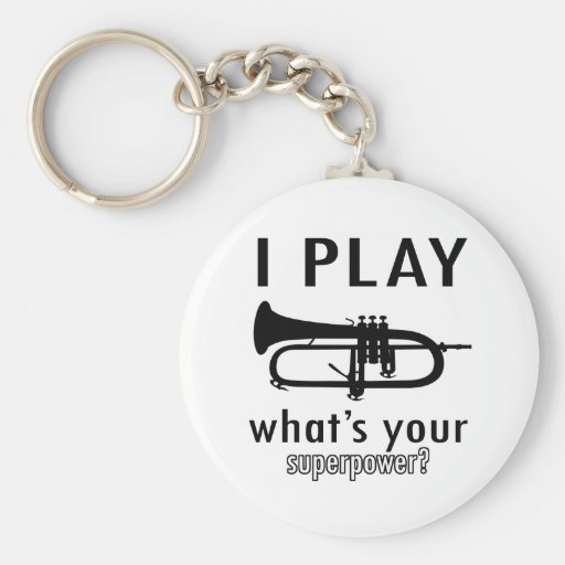 I play the trumpet basic round button keychain