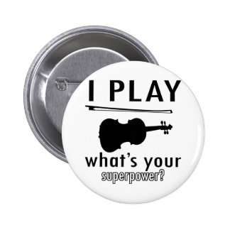 I play the Violin 2 Inch Round Button