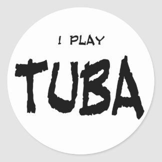 I Play Tuba Classic Round Sticker