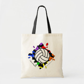 I Play Volleyball Ranbow Splash Budget Tote Budget Tote Bag