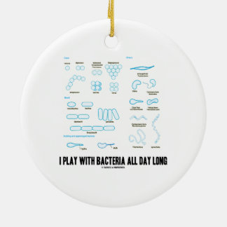 I Play With Bacteria All Day Long (Morphology) Double-Sided Ceramic Round Christmas Ornament
