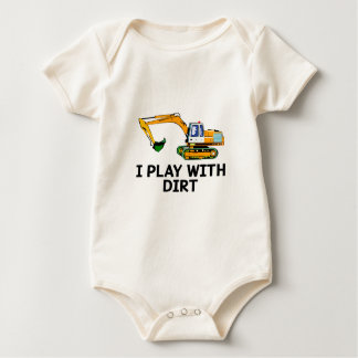I Play With Dirt Excavator Baby Romper