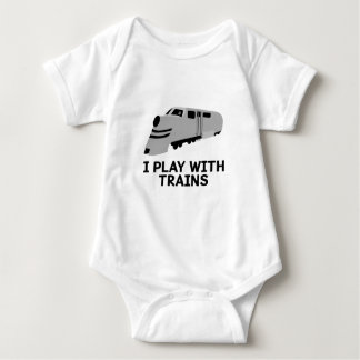 I Play With Trains Baby Bodysuit