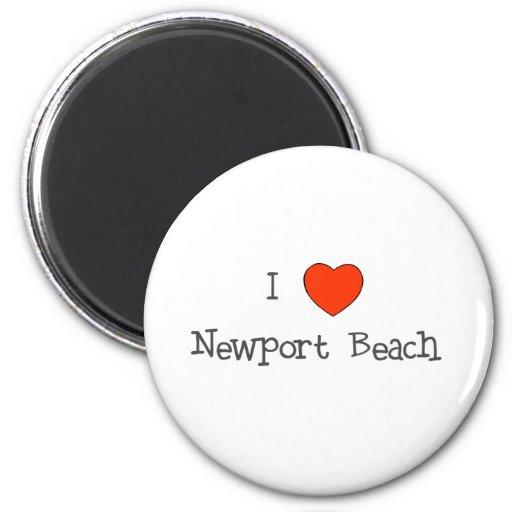 I playa de Newport del corazón Imán Redondo 5 Cm