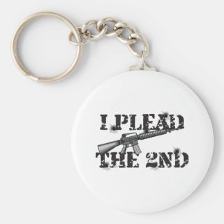 I plead the 2nd basic round button keychain