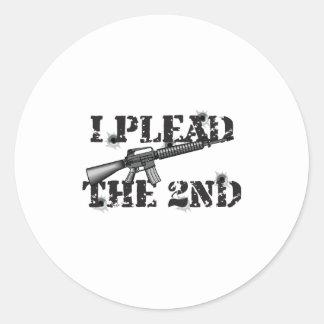 I plead the 2nd classic round sticker