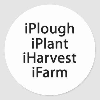 I plough plant harvest farm classic round sticker