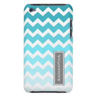 i Pod Touch Blue Ombre Chevron Custom Name iPod Case-Mate Case