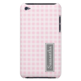 i Pod Touch Pink Gingham Custom Name iPod Touch Cases