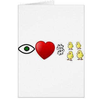 I polluelos de los ricos del corazón tarjeta de felicitación