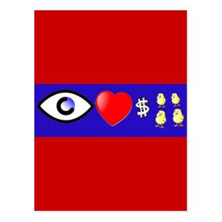 I polluelos de los ricos del corazón tarjeta postal