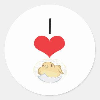 I polluelos del corazón (amor) pegatina redonda