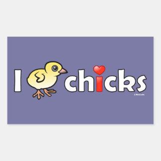 I polluelos reales del corazón pegatina rectangular