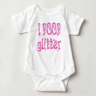 I Poop Glitter Pink Baby One Piece Tees