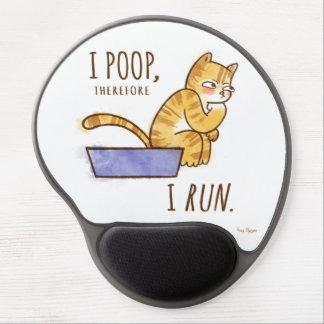 I Poop, Therefore I Run Cartoon Cat Humor Gel Mouse Pad