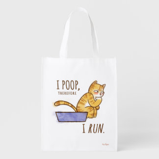 I Poop, Therefore I Run Cartoon Cat Humor Grocery Bags
