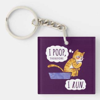 I Poop, Therefore I Run Cartoon Cat Humor Keychain