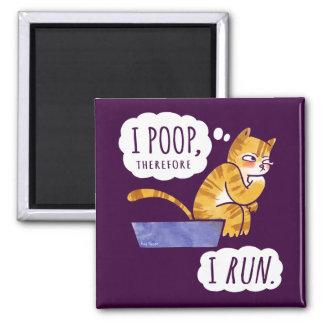 I Poop, Therefore I Run Cartoon Cat Humor Magnet