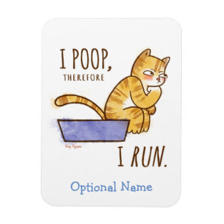 I Poop, Therefore I Run Cartoon Cat Humor Rectangular Photo Magnet