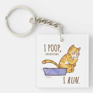 I Poop, Therefore I Run Cartoon Cat Humor Single-Sided Square Acrylic Keychain