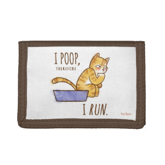 I Poop, Therefore I Run Cartoon Cat Humor Tri-fold Wallets