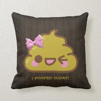¡I Pooped hoy! Cutey Poo con el arco rosado Cojin