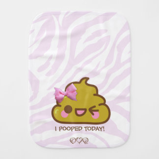 I Pooped Today - Cutey Poo & Pink Zebra stripes Burp Cloths
