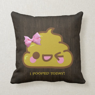 I Pooped Today! Cutey Poo with Pink Bow Throw Pillow