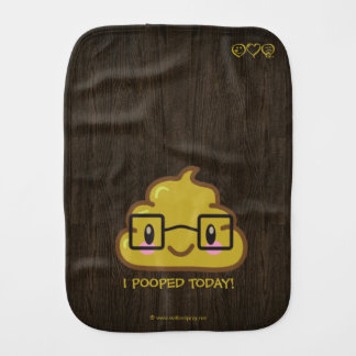 I Pooped Today! Smart Poo with Glasses Baby Burp Cloth