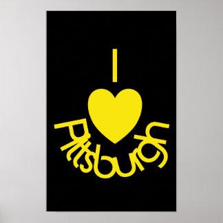 I poster de Pittsburgh del corazón - ennegrezca el